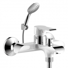 Смеситель для ванны (35мм) с плоским излив.320мм,дивер.с кер.пласт.хром/бел. W35-32 Rossinka   10056